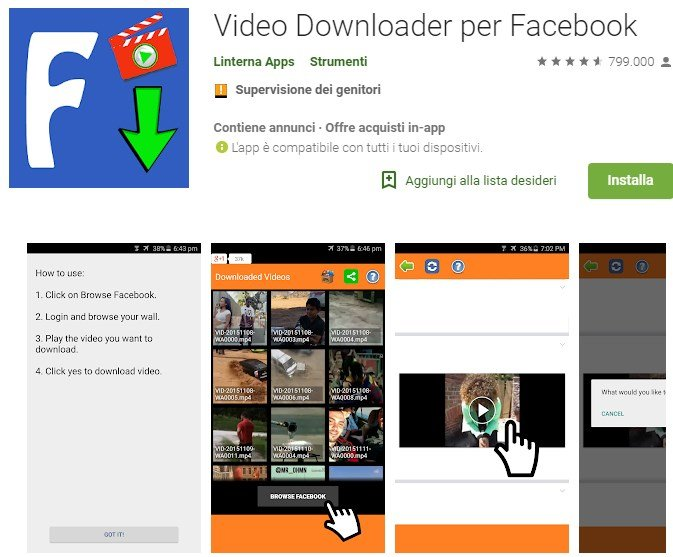 scaricare video da facebook su android